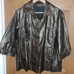 Chico's Shiny Bronze Jacket Sz 2